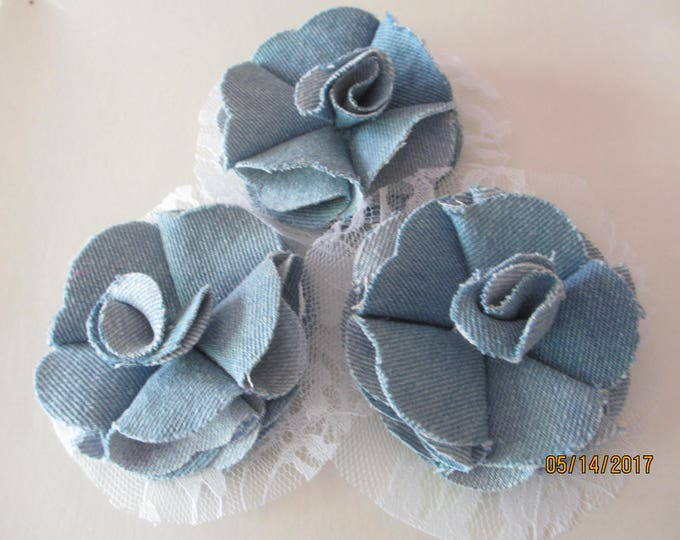 3 Denim Lace Bottom Flower Corsage, Denim Flower Corsage, Bridal Party Corsage