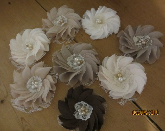 New Rustic Fabric Flower Hair Barrettes, Rustic Shower Favor Flowers, Hair Clips, Bridal Party Flowers,Wedding Flowers,Rustic Flower Corsage