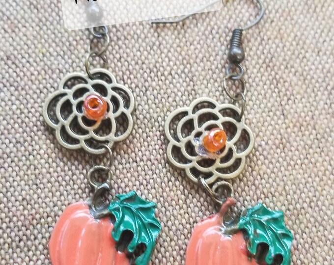 Fall Sale New Hand Painted Colorful Fall Pumpkin w Leaf Charm Earrings, New Fall Pumpkin Earrings, Fall Jewelry