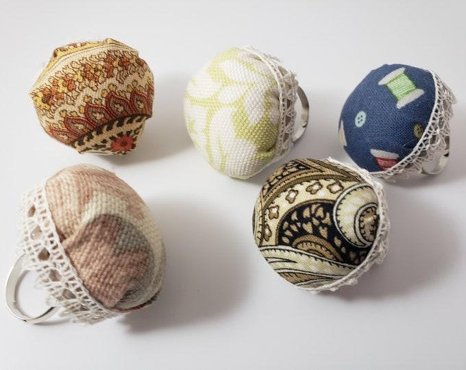 New Asst Handmade Adjustable Finger Pincushions, Quilters Pincushion Gift , Sewers Pincushion Gift, Grandmothers Gift