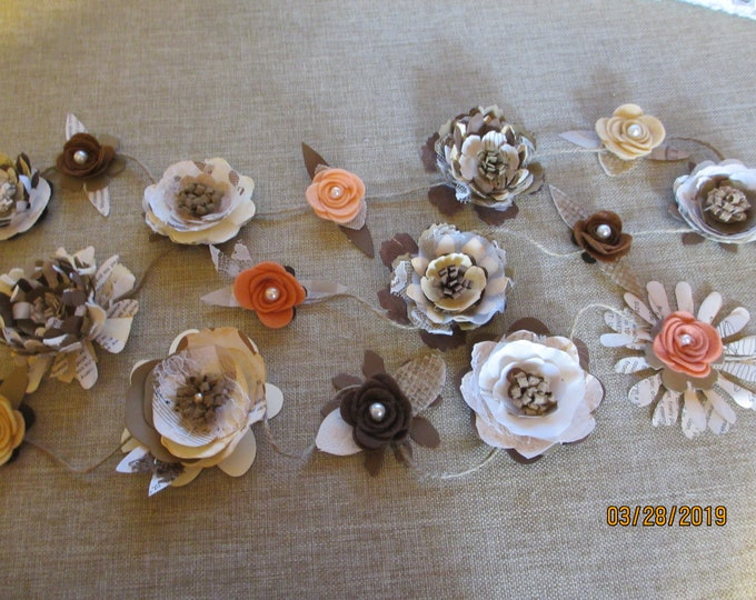 New Rustic  Paper and Felt Flower Garland,Paper Flower Rustic Wedding  Garland,6 Ft Rustic Fall Shower Garland, Bridal Shower Flower Garland