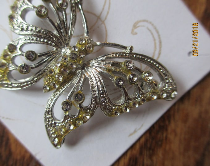 Unique Vintage Gold Tone Butterfly Pin Brooch, Rhinestone Butterfly Pin Brooch