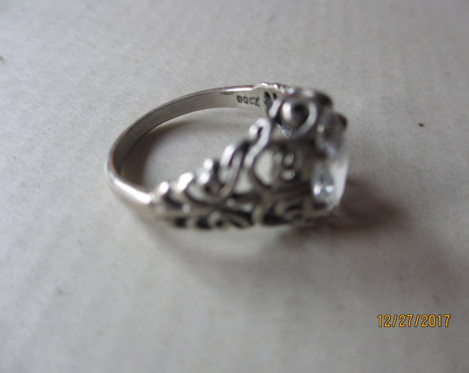 Rare Signed Vintage Kabana Sterling Silver .925 DQ CZ Ring, Vintage Silver CZ Ring, Vintage Silver Scroll Design Ring, Maid of honor gift
