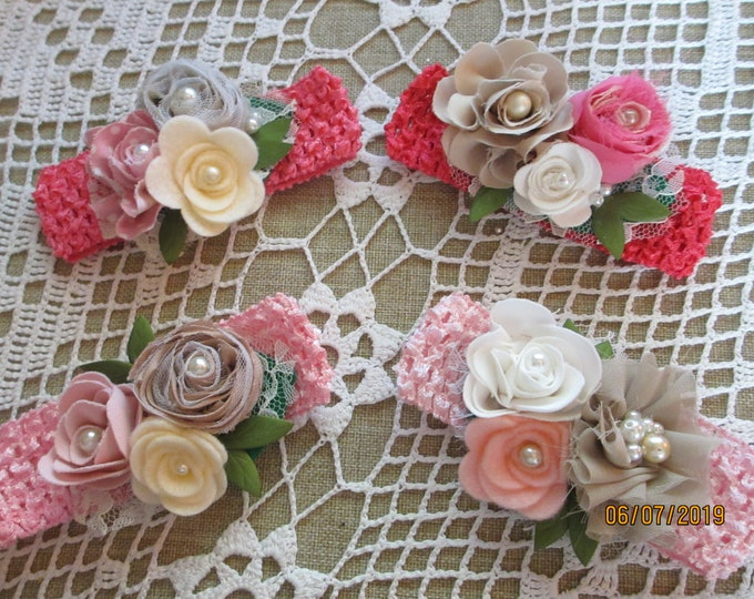 Summer Sale Rustic Baby Flower Rustic Pink Crochet Headband Flowers, Rustic Crochet Headband Flowers, Rustic Flower Baby Photo Headband,