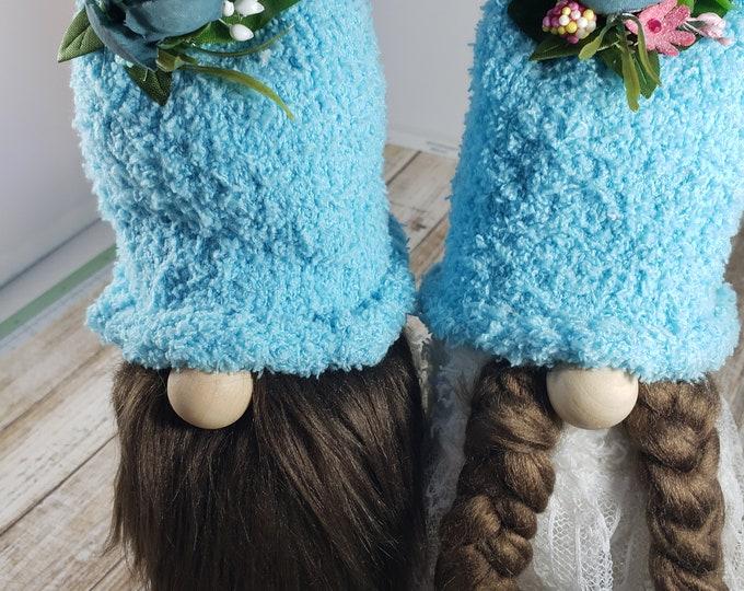 New Handmade Super Cute Spring Gnome Couple, Anniversary Gnome, Wedding Gnome, Valentines Gnome Couple, Love Gnomes
