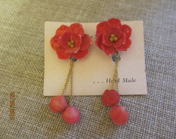 Unique Handmade Vintage Clay Red Rose Earrings, Vintage Something Old gift, Mom Gift, Rose Flower Girl Earrings, Summer Beach Earrings