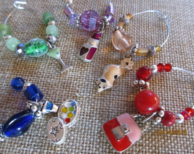 Handmade Friendship Wine Glass Charms, Hostess Wine Glass Charms, Shower Wine Glass Charms