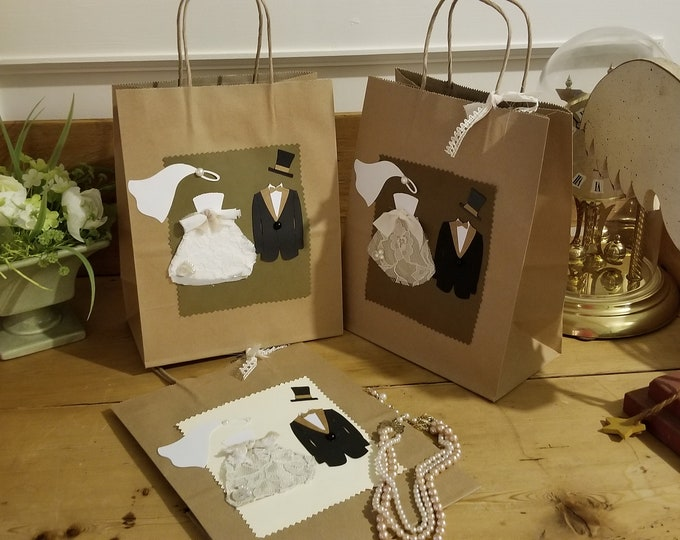 New Item Sale Medium Assorted Rustic Bride and Groom Hotel Wedding Guest Gift Bags, Unique Rustic Wedding Favor Bags, Wedding Favor Bags