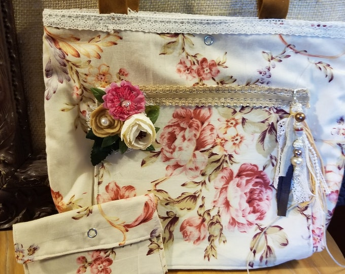 New Country French Style Floral Fabric Tote, Vintage Style Fabric Purse w Wallet, Nurses Tote Bag, Teachers Tote Bag gift