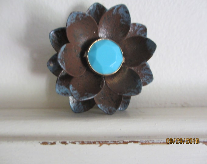 Sale New Vintage Rustic Style Pin Brooch, Rustic Brown Blue Pin Brooch