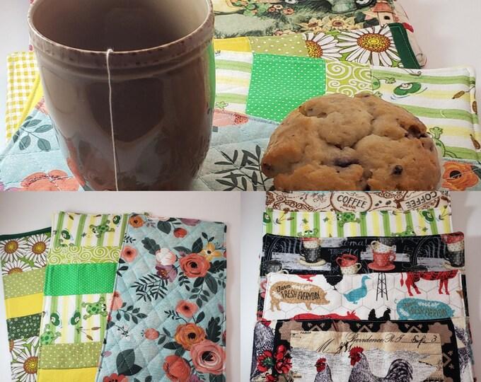 New Sale 12 Patterns Asstd Handmade Mug Rugs, Rooster Fabric Tea Mats, Shower Favors, Book Club Tea Mat Favors, Frog Fabric Tea Mat