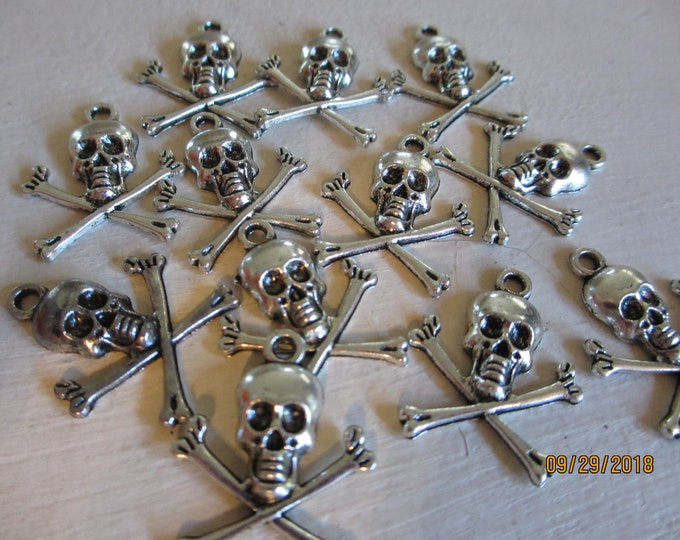 12 Skull and Cross Bone Charms, Skull Charms for Crafts, Jewelry Crafts, Skull Wine Glass Charms