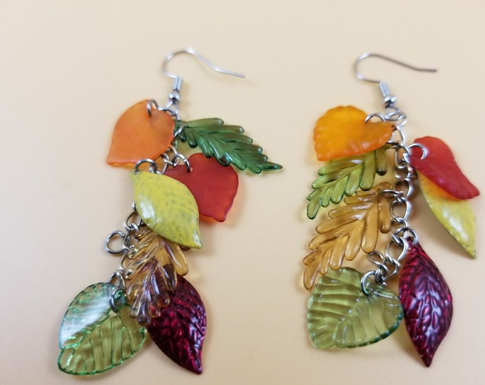Colorful Dangle Fall Leaf Charm Earrings,  Fall Acorn Charm Earrings, Fall Bridal Earrings, Fall Wedding Gift, Fall Jewelry, Teachers Gift