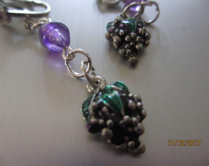 New Wine Grape Clip On Earrings, Wine Lovers Earrings, Grape Cluster Earrings