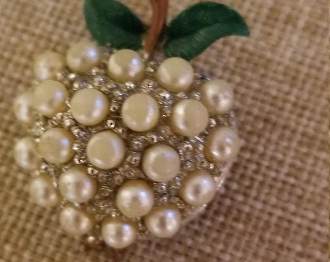 Fall Sale Vintage Pearl Beaded Apple Pin Brooch, Teachers Apple Pin, Teachers Gift, Something Old Gift