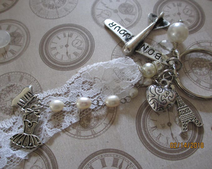 Country French Style Key Chain, I love Paris Key Chain, Paris Jewelry, Eiffel Tower Charm, Bon Jour Airplane Charm, Honeymoon Jewelry