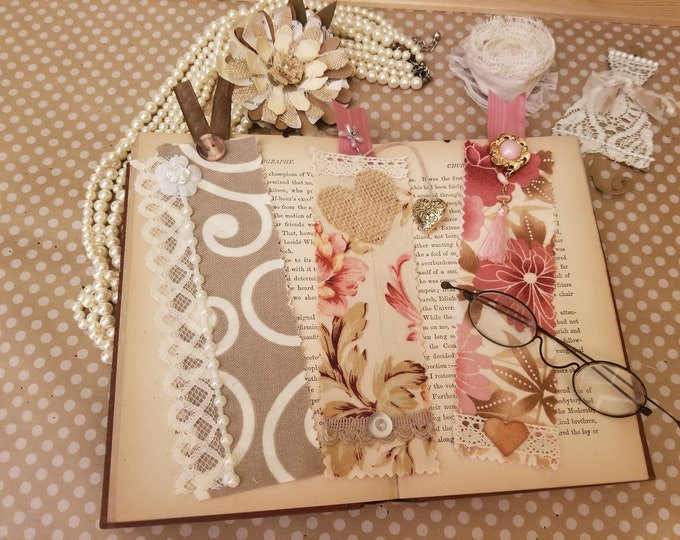 3 Asstd Vintage Style Fabric Bookmarks w Charms, Bookmarker Gifts,Back To School Book Mark,Teachers Supplies, Teachers Bookmark,Grandma Gift