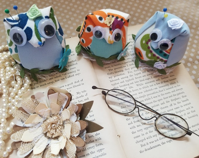 New Stuffed Fall Owl Pincushion, Owl Sewers Gift, Teachers Owl Pincushion Decoration, Teachers Gift, Owl Home Decor, Back to School Owl