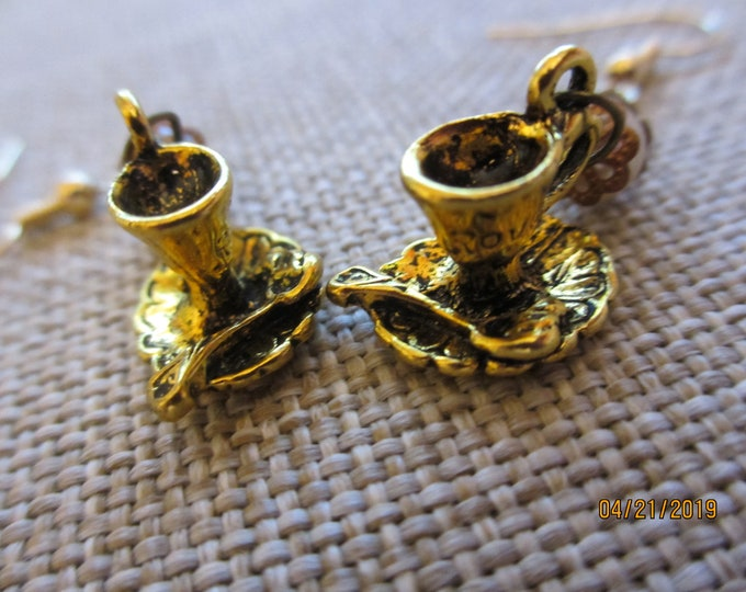 Country French Style Antique Brass Tea Cup Earrings,Mixed Media Country French Style Earrings, Antique Brass Coffee Cup Earrings