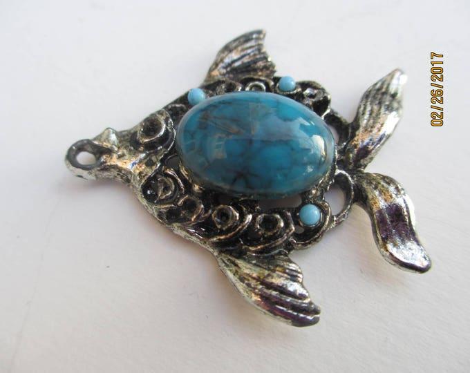 Vintage Art Deco Antique Silver Turquoise Fish Pendant, Faux Turquoise Fish Pendant