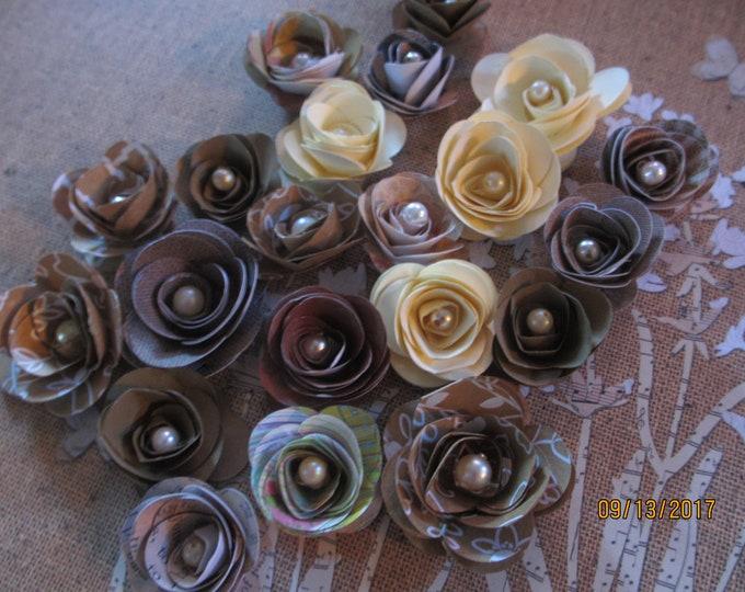 10 Small Rustic Paper Flowers, Fall Wedding Cake Flowers, Fall Shower Flowers, Rustic Fall Bouquet Flowers, Headband Flowers
