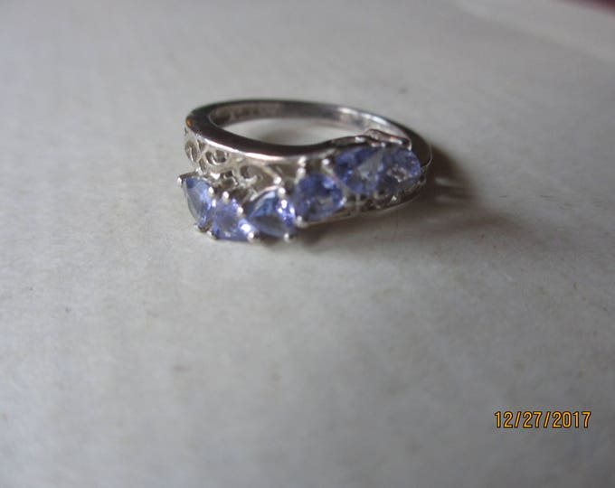 Rare Vintage Signed CD Sterling Silver Amethyst Ring, Sterling Vintage Rhinestone Ring, Maid of Honor Gift, Something Blue