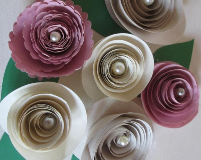 10 Pink, Cream Ivory Rolled Paper Roses,Shower Favor Flowers,paper Rose, Bridal Bouquet Flowers, Wedding Flower