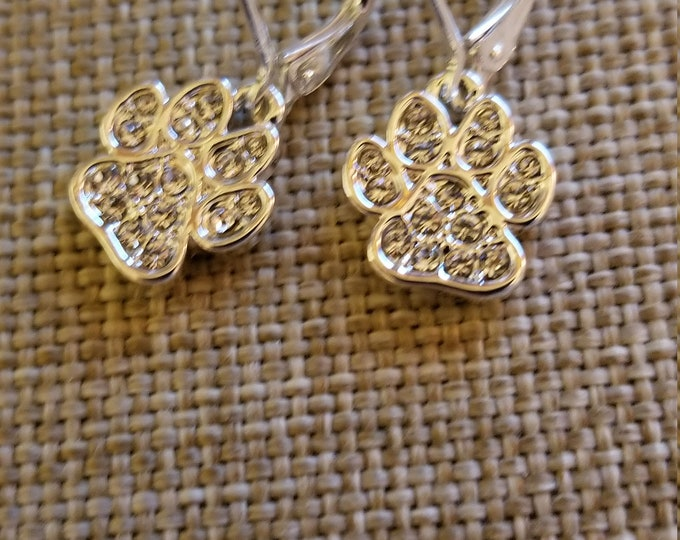 New Petite Gold Tone Rhinestone Paw Earrings,  Pet Lovers Gift, Pet Paw Earrings