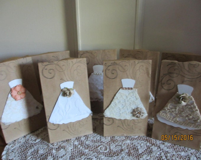 8 Assorted Rustic Bridal Shower Favor Bags, Brown Bag Country Chic Favor Bags, Chic Shower Favors, 4.7x2.8x8.9 Favor Gift Bags