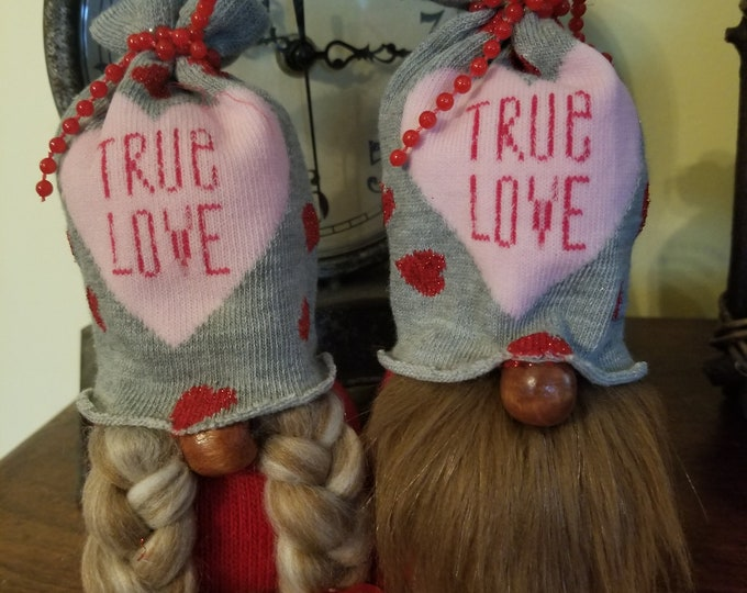 Handmade Super Cute Valentines Love Gnome Couple, Anniversary Gnome, Wedding Gnome,Love Gnome Couple