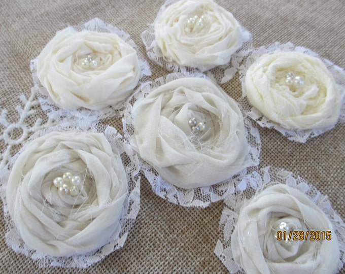 5 Small Assorted Shabby Chic Twisted Rolled Bouquet Flowers, Hair Barret Flowers, Headband Flowers