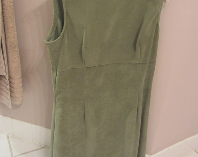 Womens Consignment, Womens Suede Dress, Green Suede Dress, One Piece Suede Dress