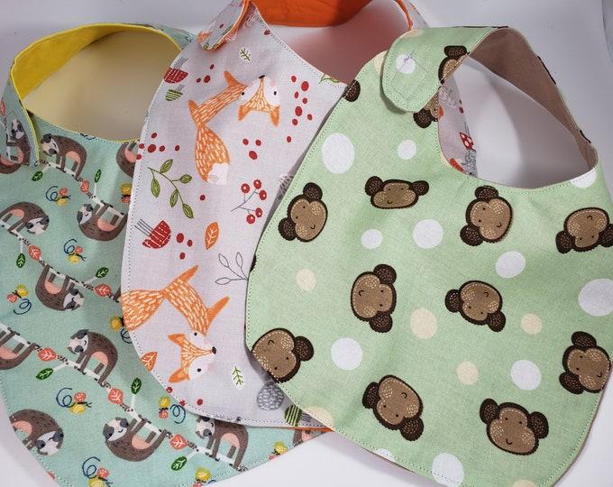 New Set of 3 Baby Shower Gift Set, Neutral Baby Bib Gift Set, Fox Fabric Bib, New Mom Gift Set, Monkey Nursery Bibs, Sloth Bibs, 2 Sizes