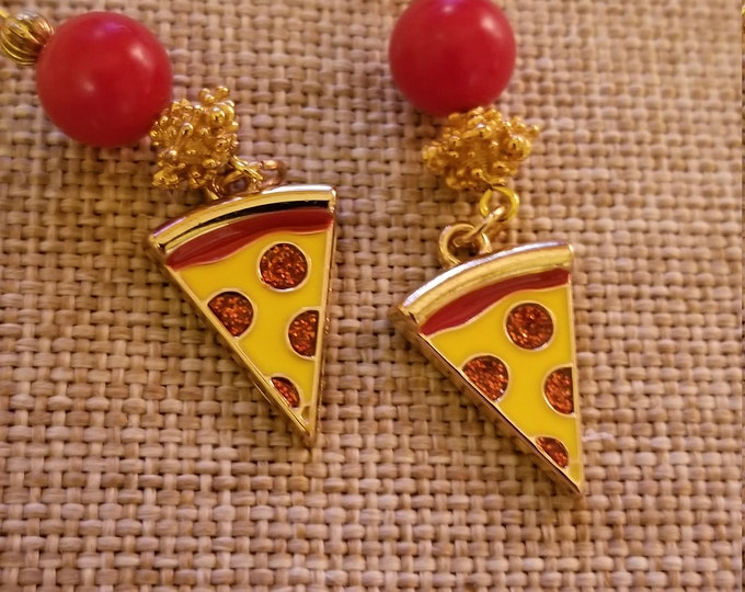 New Whimsical Colorful Pizza Charm Earrings, Pizza Charm Earrings, Pizza Lovers Gift Earrings