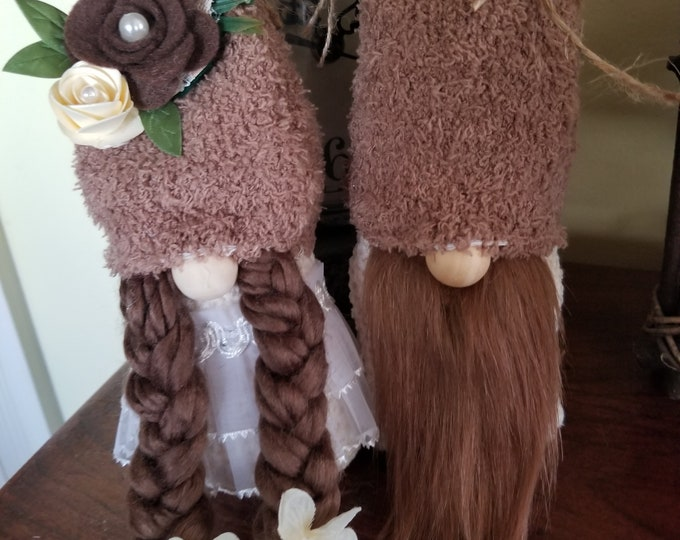 New Handmade Super Cute Rustic Fall Gnome Couple, Fall Flower Gnome Couple, Rustic Wedding Gnome, Shower Gnome Gift, Fall Gnome