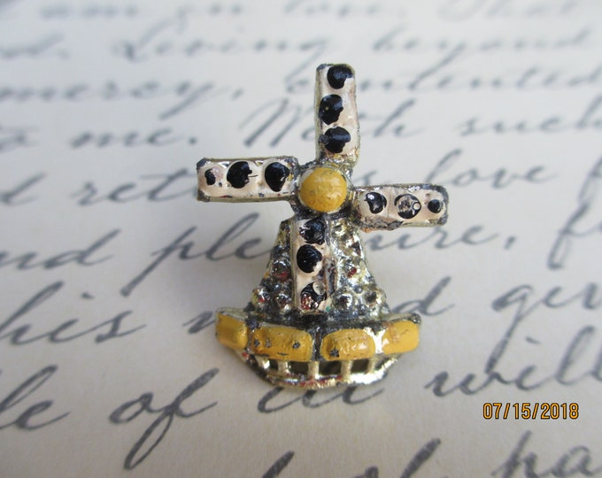 Vintage Lighthouse Windmill Pin Brooch, Summer Beach Pin, Unique Windmill Pin