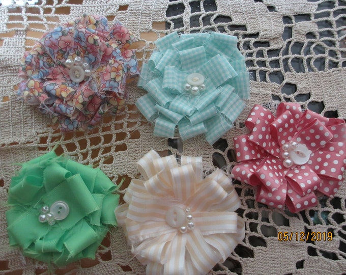 6 Baby Shower Flower Favors,Baby Shower Flower Corsage Favors, Baby's Room Decor, Baby Garland Flowers, Baby Shower Decor