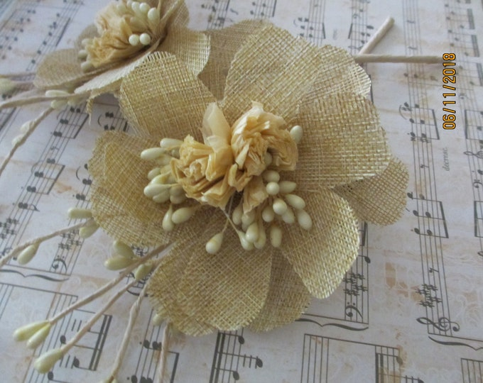 4 Burlap Boutonniere Flowers, Burlap Corsage Flowers, Burlap Bouquet Stem Flowers, Bridal Shower Boutonniere Flowers