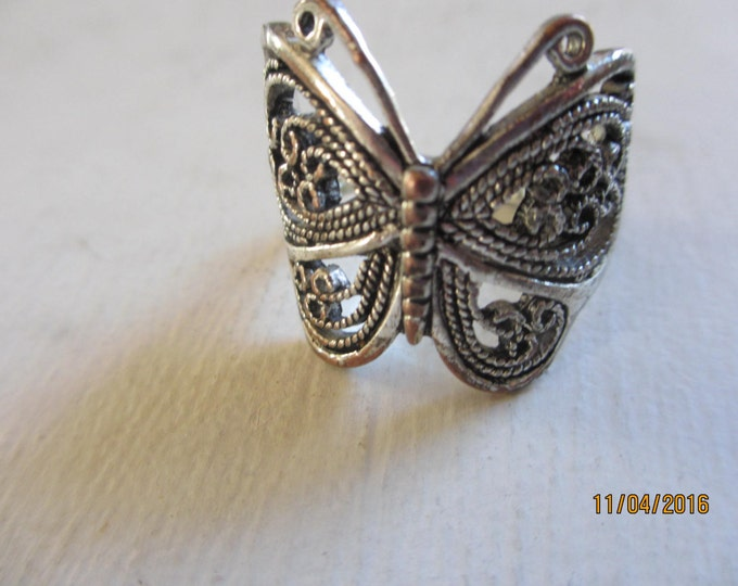 Unique Vintage Antique Silver Butterfly Ladies Ring, Vintage ButterflyLadies Ring, Butterfly Pendant