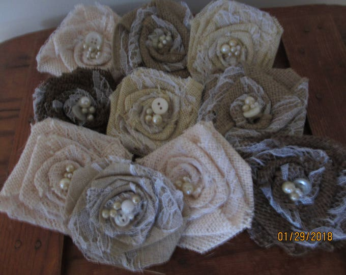 5 Rustic Shabby Chic Burlap and Lace Accent Flowers, Burlap Shower Accent Flowers