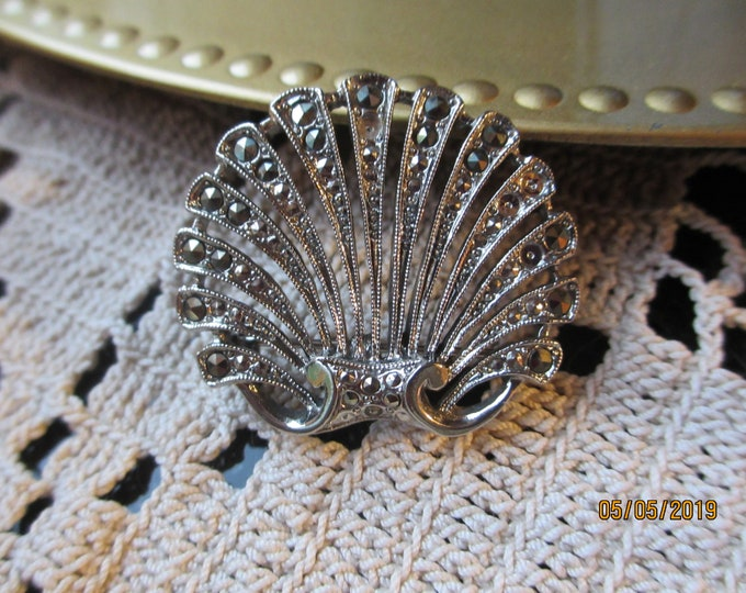 Unique Vintage Antique Silver Seashell Pin Brooch, Vintage Beach Pin, Vintage Something Old Bridal Gift, Maid of honor gift, Beach Jewelry