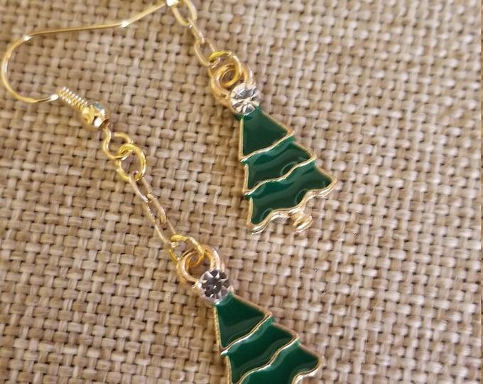 New Colorful Christmas Tree Charm Earrings, Stocking Stuffer Christmas Tree Charm Earrings, I love Christmas Tree