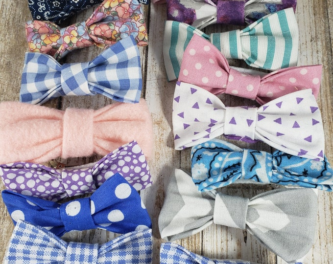 New Set of 8 Spring Stock Up Sale Lot of Asstd Fabric Hair Bows, Floral Fabric Hair Bows, Girls Hair Bows, Cheerleading Hair Bows