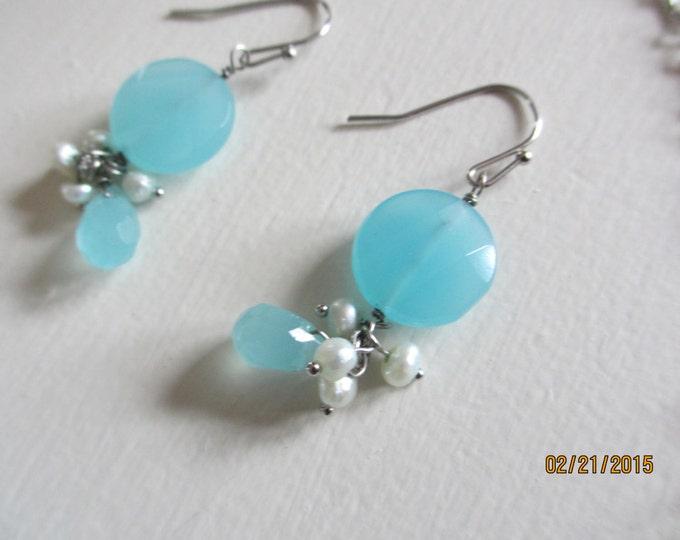 Baby Blue Bridal Earrings, Something Borrowed Something Blue Earrings, Bridal Gift, Shower gift