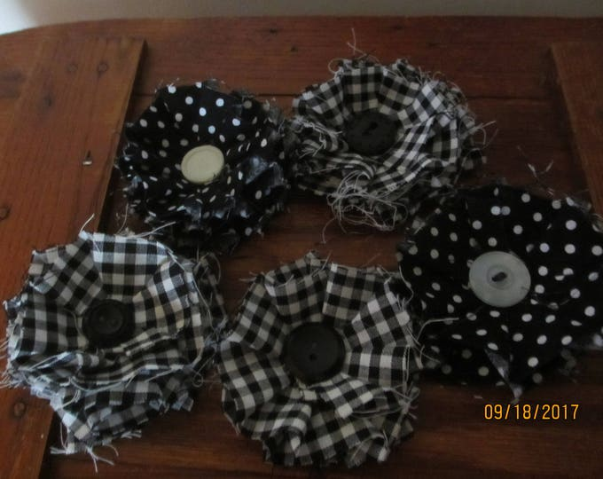 5 Black White Polka Dot Fabric Corsage Flowers, Black White Gingham Fabric Ruffle Flowers, Black White Barrett Flowers, Shower Flower Favors