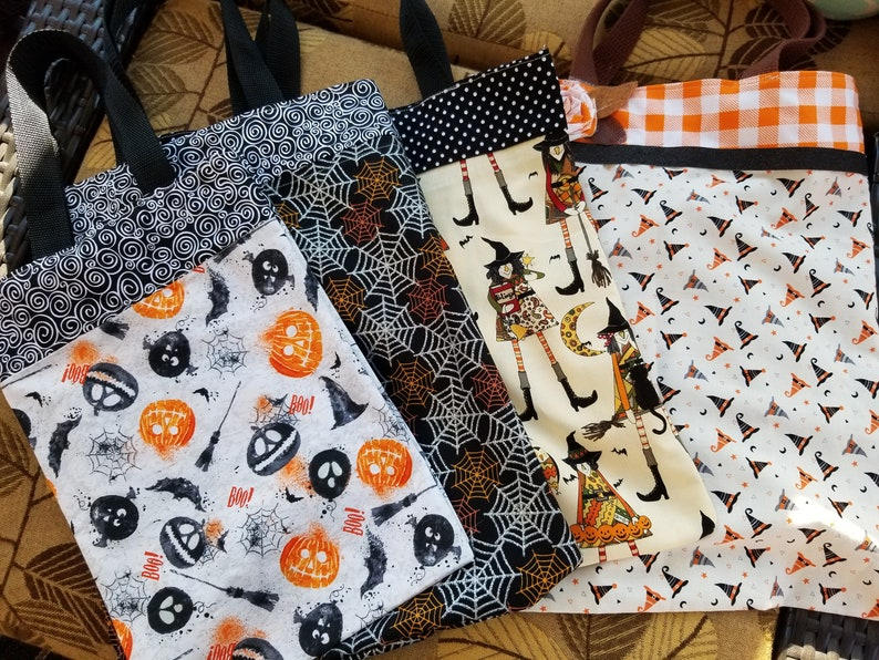 Witches Hat Fabric Trick or Treat Tote New Handmade Children/'s Trick or Treat Bag Teachers Fall Tote Bag Back to School Book Tote Bag