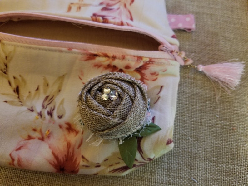 New 2 Handmade Poof Make Up Travel Bag Set Country French Style Makeup Bag Vintage Style Makeup Travel Bag Set Vacation Travel Bag Set