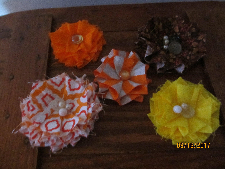 5 Asstd Fall Ruffle Fabric Flower Corsage Fall Favor Flowers Fall