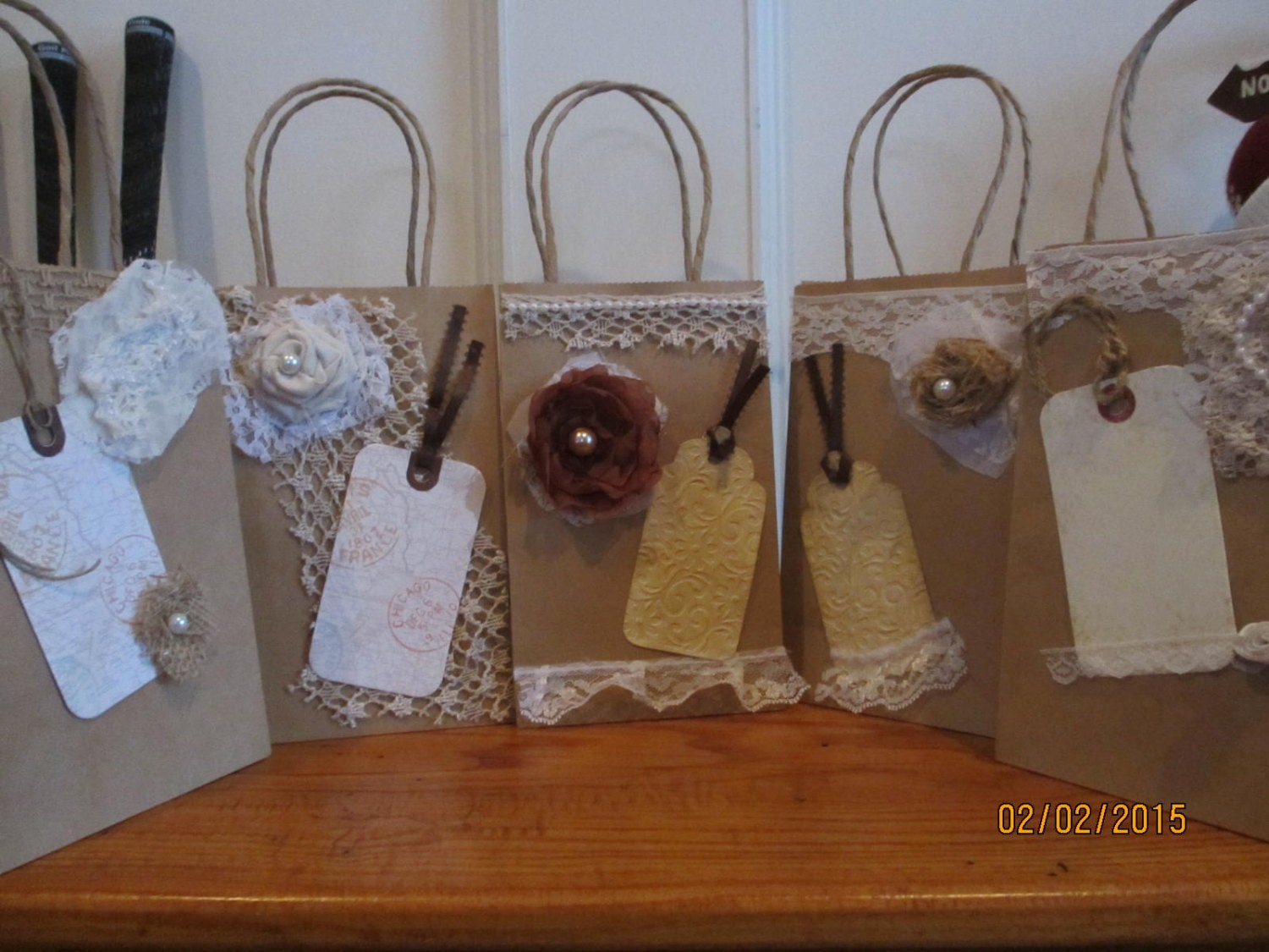 new item sale 5 assorted rustic shabby chic hotel wedding guest gift bags bridal shower favor bags wedding favors