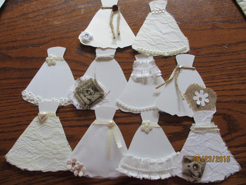 Shabby Chic Accent Paper Bridal Dresses Rustic Wedding Decor Rustic Shower Favors Rustic Chic Paper Wedding Dresses